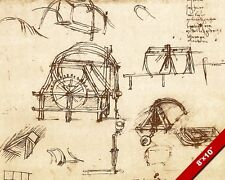LEONARDO DA VINCI SKETCH WAR SEIGE WEAPONS TREBUCHET CATAPULT CANVAS ART PRINT