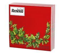20 X Renova Red Christmas Holly Design Napkins (1 Pack)