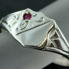 FS155 GENUINE REAL 925 STERLING SILVER LADIES RUBY ENGRAVED SIGNET RING SIZE N 7