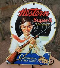 VINTAGE PORCELAIN WESTERN SUPER-X .22 CARTRIDGES ADVERTISING SIGN WINCHESTER