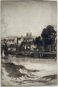 JOHN FULLWOOD (1854-1931) Signed Etching RIVERSIDE LANDSCAPE c1900
