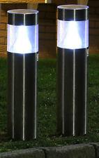 2 x rond acier inoxydable énergie solaire conduit jardin Post FEUX RECHARGEABLE