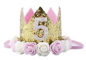 Baby Princess Tiara Crown,Baby Girls/Kids First Birthday Hat Sparkle Gold Flower
