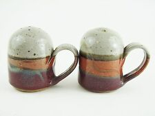 Handmade Hand Painted Pottery Salt and Pepper Shakers - Red Orange Gray - EUC!