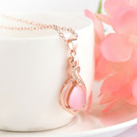 Chic Women's Rose Gold Chain Plated Opal Crystal Pendant Necklace Jewelry Gift