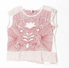 Akemi + Kin Anthropologie Sienna Red White Cotton Embroidered Blouse Shirt Top M