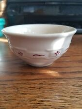 Longaberger Woven Traditions Pottery Red berry Fruit Dessert Bowl 4 1/4 X 2 1/4