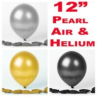 """12"""" Black Silver Gold Latex Balloons helium/air quality birthday wedding party"""