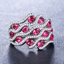 925 Silver Fashion Women Rings Jewelry Gorgeous Ruby Wedding Ring Size 8