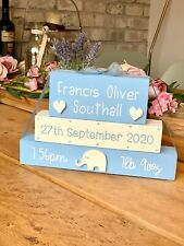 Personalised Christening plaque Baby boy girl gift plaque blocks