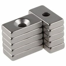 10pcs Super Strong Block Magnets 20x10x4mm Hole 4mm Rare Earth Neodymium N50