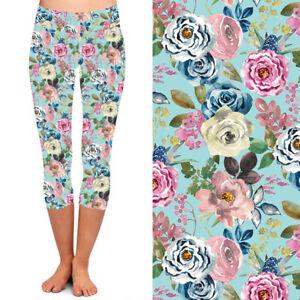 White Pink Blue Flower Leaves Women's CAPRI Leggings TC2 Extra Plus Size 18-24