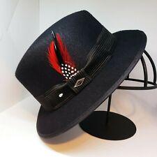 Mens Felt Black lowrider center crease  hat fedora Derby