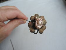 Antique Cameo Hat Pin HATPIN Four Leaf Clover Jewelry Vintage (tt568)