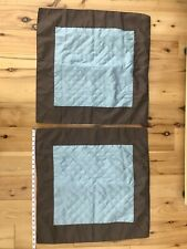 """Two 2 Euro Sham Shams Quilted Blue Brown Linens n Things 26 in. 26"""""""