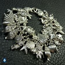 ♥ Generous Plated Silver Various Ocean Charms Dangling Bracelet