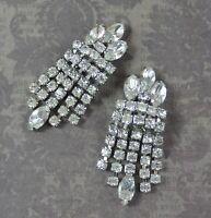 Weiss Vintage Clear Rhinestone Dangling 5 Strand Silver Tone Clip On Earrings