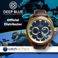 DEEP BLUE FLEET ADMIRAL WATCH AUTO FULL CALENDAR 100m WR GOLD CASE BLACK DIAL