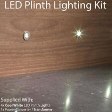 ROUND LED Plinth Light Kit–4x COOL WHITE Spotlights–Kitchen/Bathroom Floor Panel