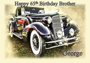Personalised birthday card Vintage car any name age relationship