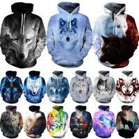Wolf 3D Printed Hoodie Mens Womens Hooded Sweatshirt Pullover Jumper Jacket Coat