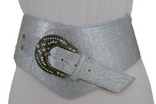 Women Silver Comfortable Western Fashion Wide Belt Faux Leather Plus Size XL XXL