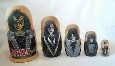 Kiss Rock Band 5Pc Hand Painted Wood Russian Matryoshka Nesting Dolls