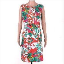 I.N. Studio White Multi Color Sleeveless Peplum Pencil Career Dress Size 16 EUC