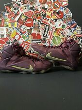 Lebron James XII 12 Double Helix Merlot Mens Size 13 With Box Purple Volt