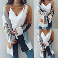 Women Check Winter Baggy Cardigan Coat Long Chunky Knit Oversized Sweater Jumper
