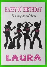 PERSONALISED 60th Birthday Card (Disco) GIRL FEMALE MUM NIECE SISTER NAN 60