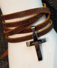 Mens Brown Leather Surf Wrap Wristband Steel Silver Cross Pendant Cuff Bracelet