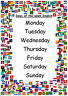 Days of the week A4 POSTERS available in 5 languages~Nursery~Childminder~School