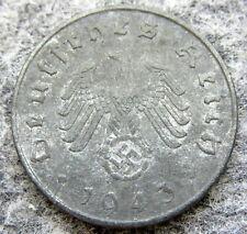 GERMANY THIRD REICH 1943 A 10 REICHSPFENNIG SWASTIKA, ZINC