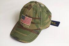 Polo Ralph Lauren USA Flag Camo leather strap back hat cap