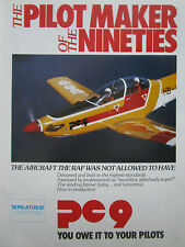 11/1985 PUB PILATUS PC-9 MILITARY TRAINER AIRCRAFT PILOT AVION ORIGINAL AD
