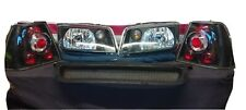 99-04 VW Jetta USED Black Headlights+Front Hood Mesh Grille + CLEAR TAIL LIGHTS