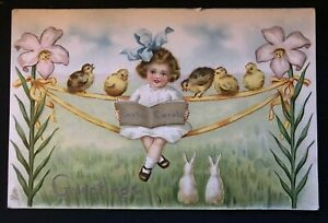 Tuck~Little Girl with Chicks~Rabbits~Flowers~Antique Easter Postcard--c817