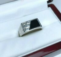 Soviet Mens Ring Silver 875 Size 10.5 USSR Ring Stone Onix Weight 5.64g