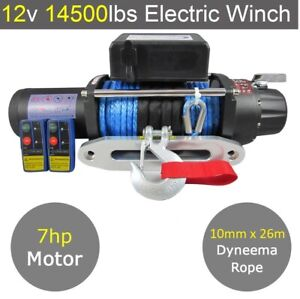 12V 14500lbs Electric Winch 10mm X 26m Dyneema Rope - 13500lbs 13000lbs 12000lbs