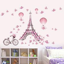 Eiffel Tower Pink Butterfly Vinyl Wall Sticker Decal DIY Nursery Kids Room Decor