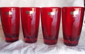 LENOX HOLIDAY GEMS HIGHBALL RUBY RED GLASSES TUMBLERS ITALY CHRISTMAS *SET 4*NEW