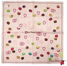 LADUREE French Paris HEARTS Love Macarons Handkerchief Scarf Pink U.S. Seller