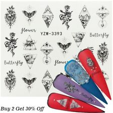Black Abstract Nail Art Stickers Sheet For Girls