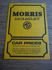 MORRIS & WOLSELEY & MG PRICE LIST BROCHURE 1972 / 73  jm