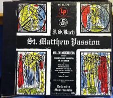 1954 US CBS Mono ED1 3 Lp MENGELBERG bach st matthew passion VG+ SL-179 w/Book