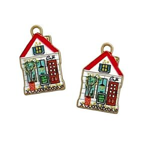 10 Enamel Little Red Cottage Cafe House Gold Bead Drops 22mm Charms Pendants