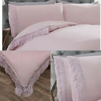 Tia Trellis Tassel Duvet Cover Set Luxury Cotton Bedding Sheets Double Pink
