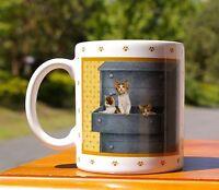 Coffee Mug 1988 Lowell Herrero Japan Three Kittens in Dresser Drawer Paw Prints