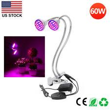 60W Indoor Plant LED Grow Light  Full Spectrum Dual Desk Clip Head Light Lamp US
